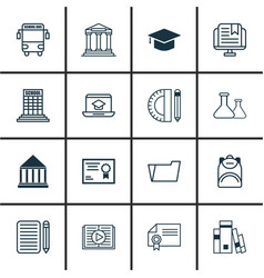 Set of 16 school icons includes haversack taped vector