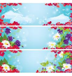 Set of Valentines Day horizontal banners vector image