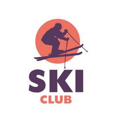 Ski club logo template with skier silhouette vector