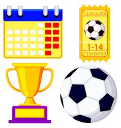 soccer championship waiting cartoon icon set vector image vector image