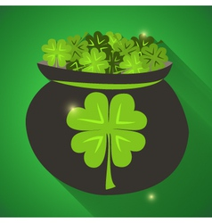St Patrick Day green clovers icon vector