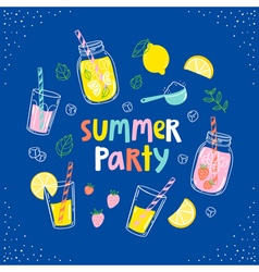 Summer party lemonade card vector