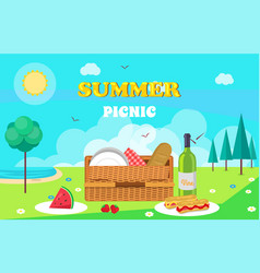 Summer picnic composition vector