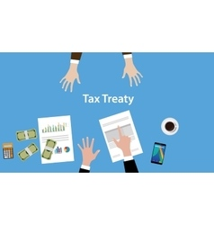 Tax treaty concept with two business vector