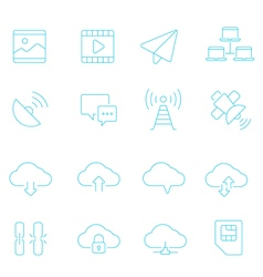 Thin lines icon set - network communication vector