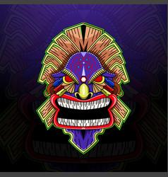 tiki mask esport mascot logo vector image