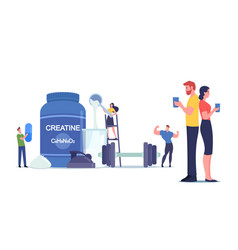Tiny characters drinking cocktail with creatine vector