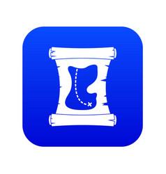treasure map icon digital blue vector image