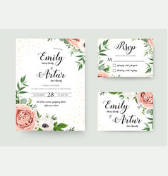 Wedding floral invitation thank you rsvp card vector