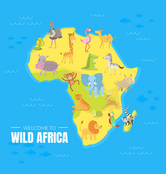 welcome to wild africa banner template with map of vector image