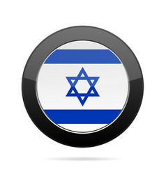 Flag of israel shiny black round button vector