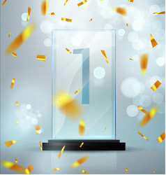 glass trophy award first place prise plaque vector image