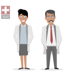 male doctor and female nurse medical people flat vector image