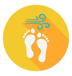 Summer Footprints on the Beach Circle Icon vector image