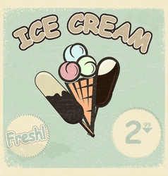 Vintage postcard with a picture of ice cream vector image vector image