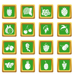 berries icons set green vector image vector image