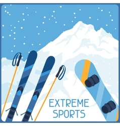 Extreme sports on background of mountain winter vector image