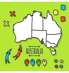 Freehand Australia travel map on green background vector image vector image