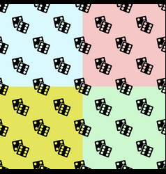 gambling dices set seamless pattern on color vector image
