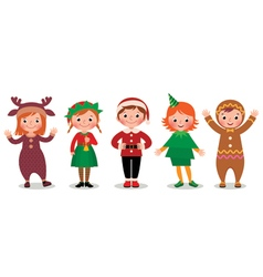 Group of children in costumes Christmas vector image