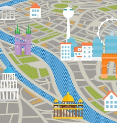 Abstract city map with silhouettes of houses vector image