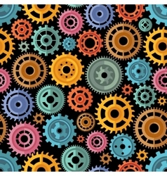 Flat Style Color Gears Pattern vector image vector image