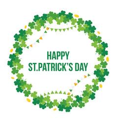 happy stpatricks day shamrock clover round frame vector image vector image