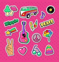 hippie fashion doodle stickers badges vector image