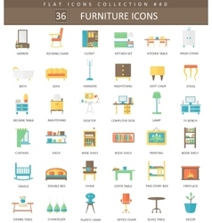 interior Furniture color flat icon set vector image