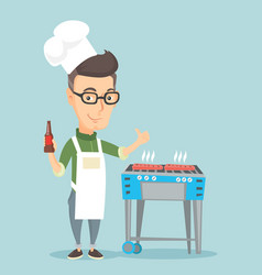 Man cooking steak on barbecue grill vector
