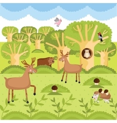wild animals on the forest vector image vector image