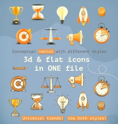 3d and flat set icons vector image