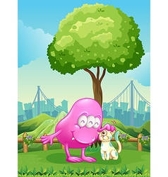 A pink monster and a monster cat near the tree vector image vector image