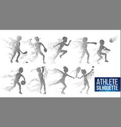 Athlete silhouette set sport dynamic vector