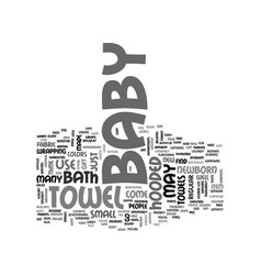 baby hooded towel text word cloud concept vector image vector image