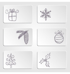 Banners with christmas doodles vector image