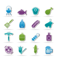 Grilling and barbecue icons vector image vector image