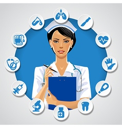 Nurse girl in a round frame with medical icons vector image