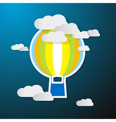 Paper Hot Air Balloon on Sky with Clouds vector image vector image