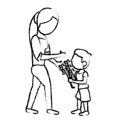 sketch mother and son bouquet flowers vector image vector image