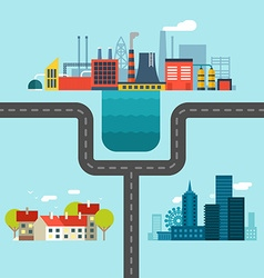 Urban Village and Factory Landscapes Connected vector image