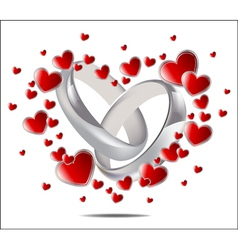 wedding rings and hearts vector image vector image