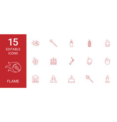 15 flame icons vector image