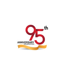 95 anniversary design logotype red color vector