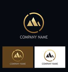 abstract mountain gold triangle logo vector image