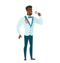 African-american groom singing to the microphone vector