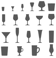 Alcohol glasses silhouette set vector