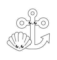 anchor marine with seashell kawaii vector image