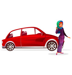 arabian woman buy car vector image