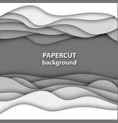 background with white paper cut shapes 3d vector image